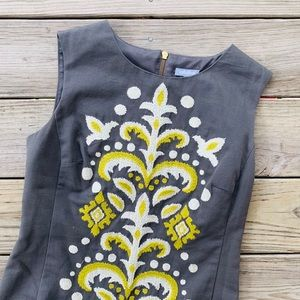 Tabitha Anthropologie Embroidered Shift Dress Sz 8